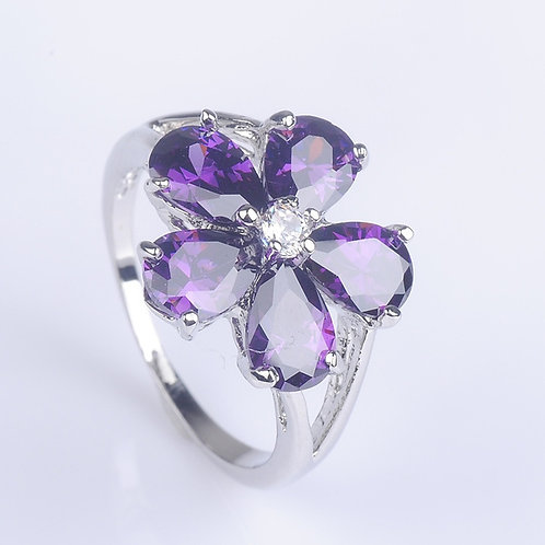 925 Sterling Silver Amethyst White Gemstones CZ Alexandrite Ring