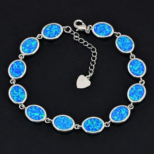 Fashionable Oval Fire Opal Silver Bracelets
