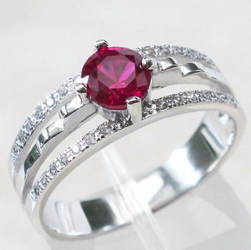 Round Cut Red Ruby 925 Sterling Silver Fashion Ring Size 7