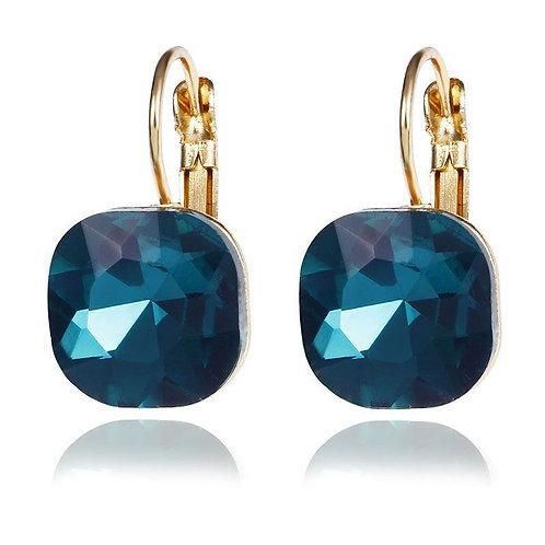 Square Crystal CZ Diamond Gold Inlaid Stud Earrings