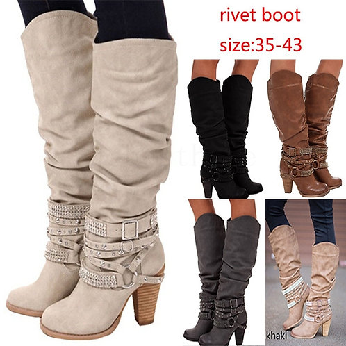 Lady Women's Thin Heels Sexy Party Zip Riding Boots Women Stretch Fabric Belt Fl