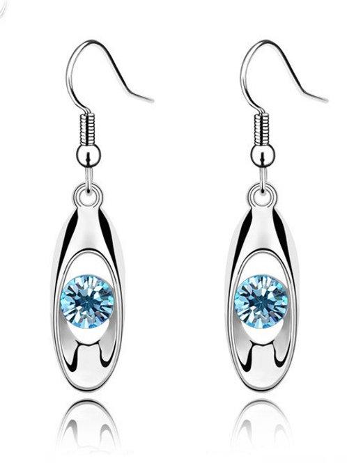 Lumer Fashion Oval Drop Earrings Blue