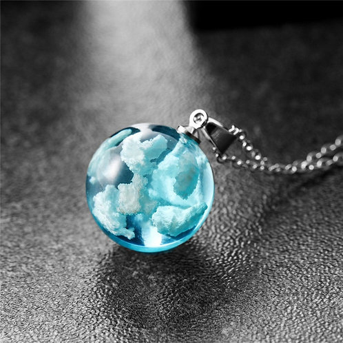 Blue Sky Transparent Moon Pendant Necklace and Chain