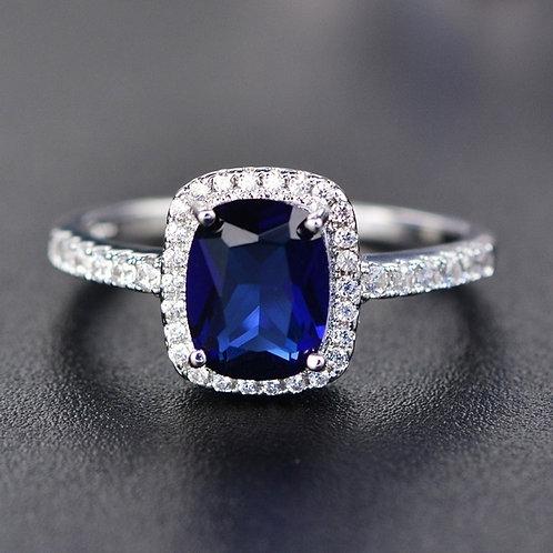 Natural Sapphire Gemstones Birthstone Opal Princess Cut Rings