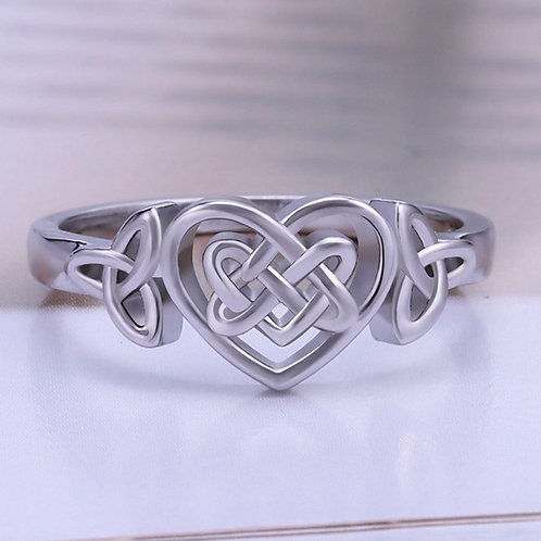 Classic Fashion 925 Sterling Silver Celtic Knot Heart Ring