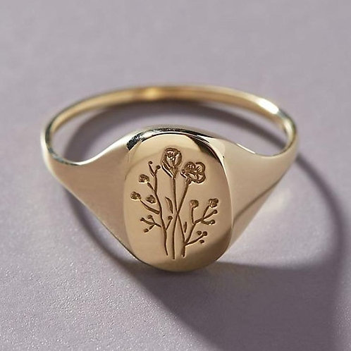 12mm 925 Sterling Silver Wildflower Signet Oval Rings