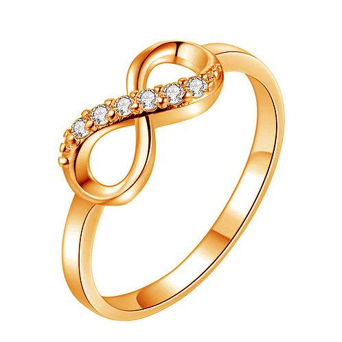 Fashion Simple Infinity Crystal Rhinestone Decor Silver Rings