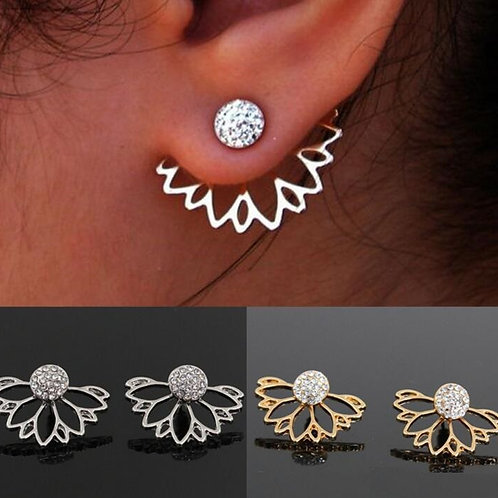 Fashion Gold Hollow Lotus Flower Simple Chic CrystalEarrings