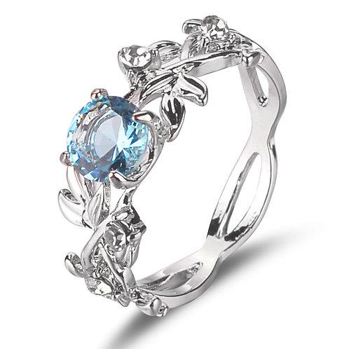 Leaf Pattern Design Blue Crystal Decor Ring