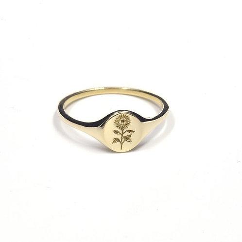 14K Gold Sunflower Carved Oval Signet Rings