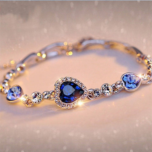 Silver Heart-Shaped Blue Crystal Fashion Bracelet