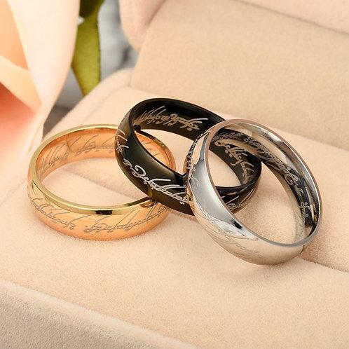 Lord Of The Rings Movie Engraved Design Vintage Steel Rings