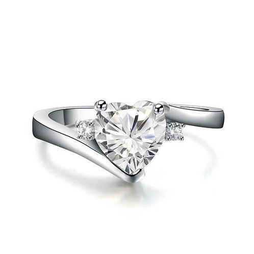 925 Sterling Silver White Topaz Heart Cut Promise Ring