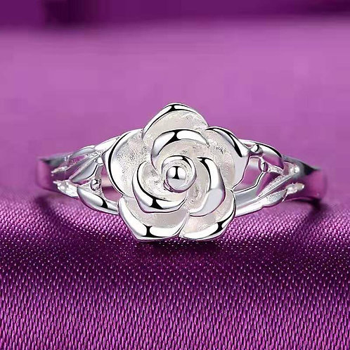 Shiny Silver Color Rose Flower Exquisite Handmade Rings