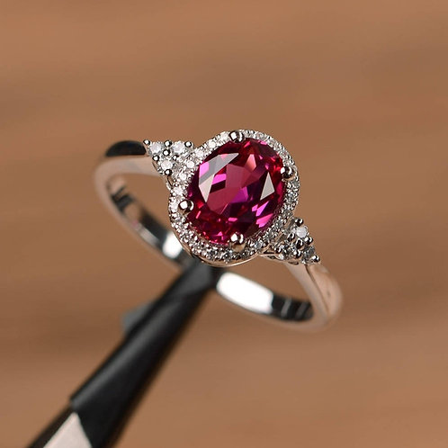 Exquisite Fashion Platinum Plated Oval Ruby Ring - Size 6