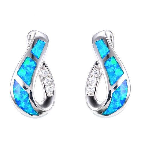 Geometric Design Blue Fire Opal Silver Stud Earrings