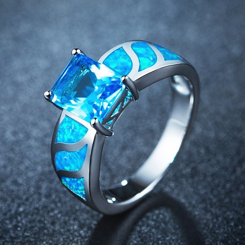 Women's Blue Fire Opal Rectangle Stone Ring