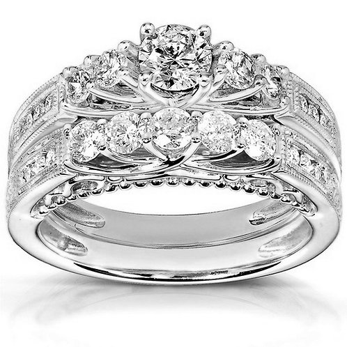 White Sapphire Engagement Gold Set Rings