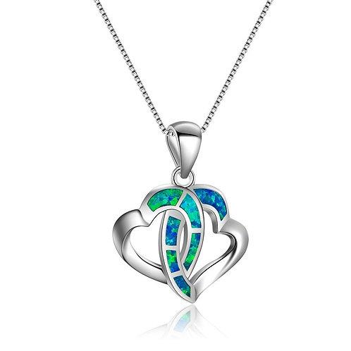 Ocean Blue Fire Opal Double Heart 925 Sterling Silver Necklace