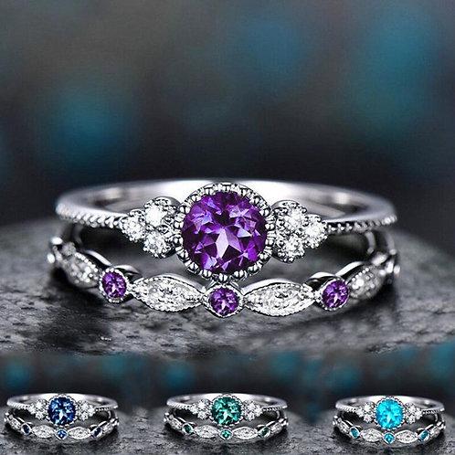 2Pcs/Set Luxury Green Blue Stone Crystal Ring