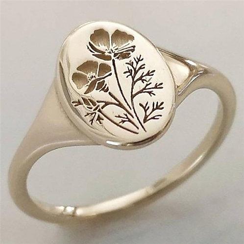 14K Gold Carved Oval Poppy Flower Signet Rings