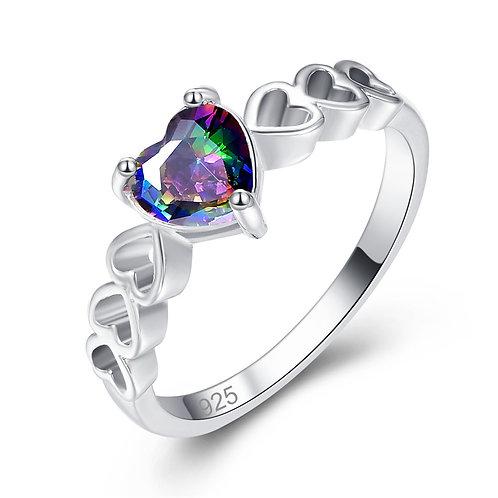 925 Sterling Silver Heart-Shaped Rhinestone Design Ring