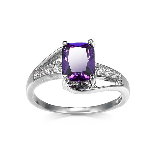 Amethyst Gemstone 925 Sterling Silver Fashion Ring Size 6