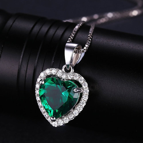 Women Silver Ballroom Green Emerald Pendant Necklace