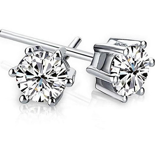 925 Sterling Silver Shining Crown 6 Prong 5mm Stud Earrings