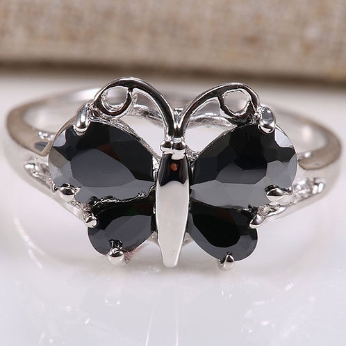 Dazzling 925 Sterling Silver Black Sapphire Gemstone Butterfly Ring