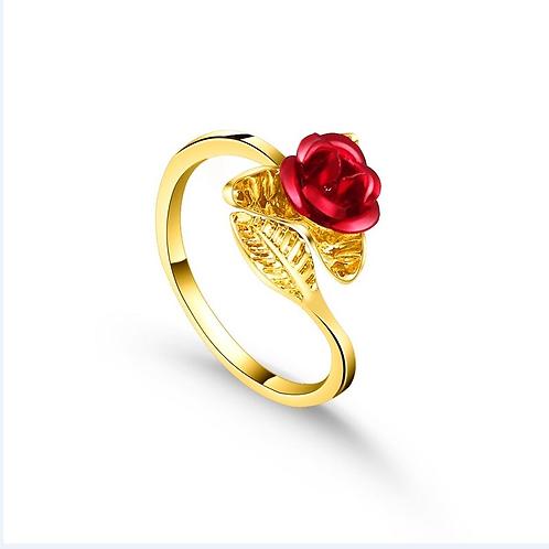 Exquisite Red Rose Garden Flower Gold Rings