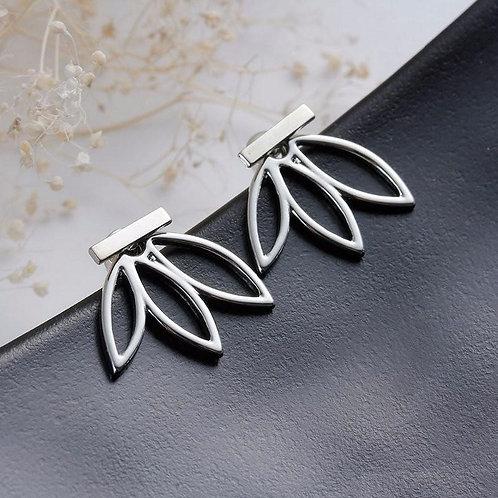 Interchangeable Ear Jacket Stud Lotus Earrings