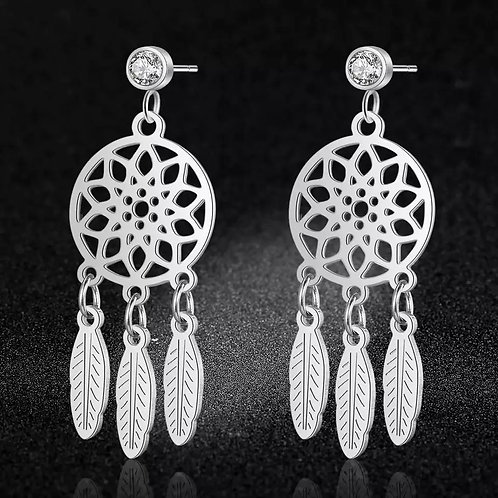 Stainless Steel Dream Catcher Boho Stud Earrings