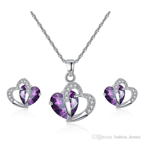 Silver Heart Necklace And Earring Set w Chain