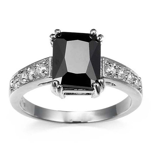 Natural Gemstone Black Sapphire 925 Silver Ring