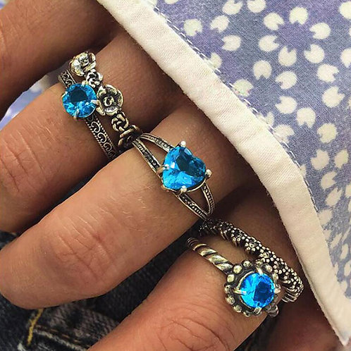 5 Geometric Flower Inlaid Gemstone Heart Rings Set