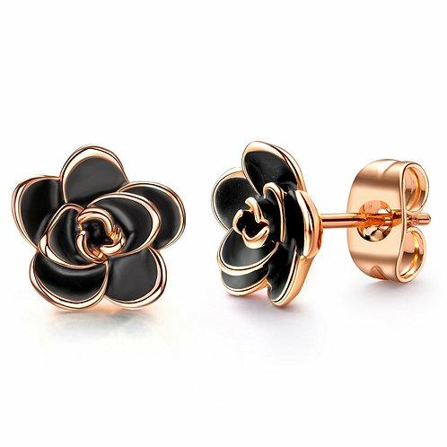 18K Gold Plated Black Rose Flower Stud Earrings