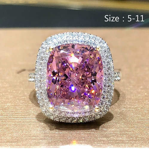 2.8ct 925 Sterling Silver Pink Sapphire Diamond Ring