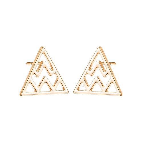 Geometric Zig Zag Wavy Lines Triangle Stud Earrings