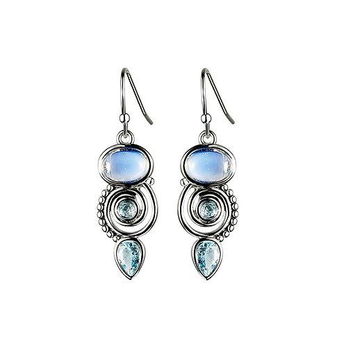 Vintage Chic Spiral Blue Topaz Tear Drop Dangle Earrings