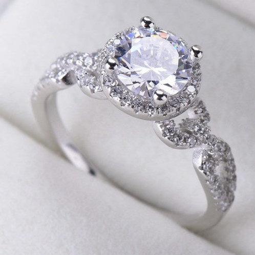 925 Sterling Silver Shine White Domonique L45 B Engagement Ring - Size 7