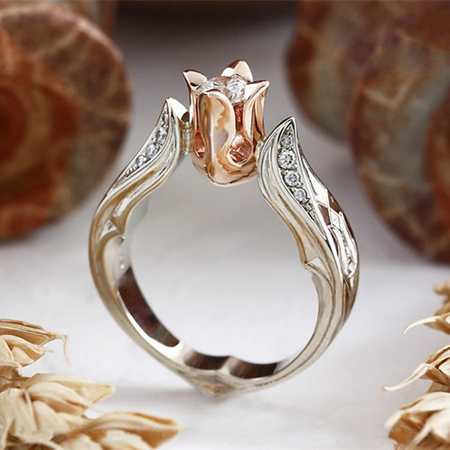 Exquisite Creative Rose Floral Silver Flowers Ring