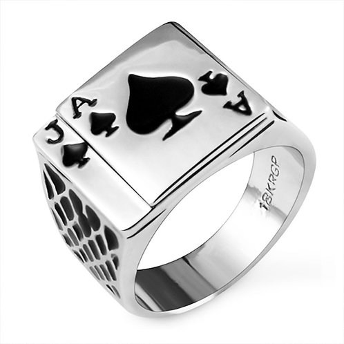 Unique Poker Design Silver Metal Ring