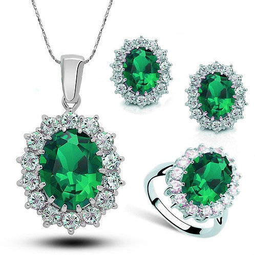 4pc Exquisite Silver Green Sapphire Ring, Earrings & Necklace Set