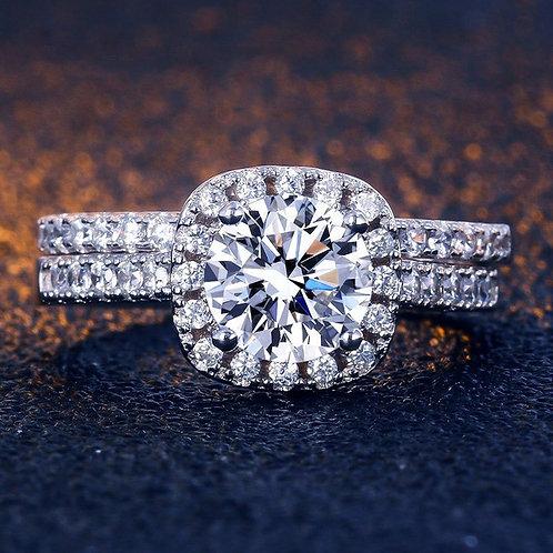 2 Pcs White Gold Plated Cut Zircon Engagement Ring Set