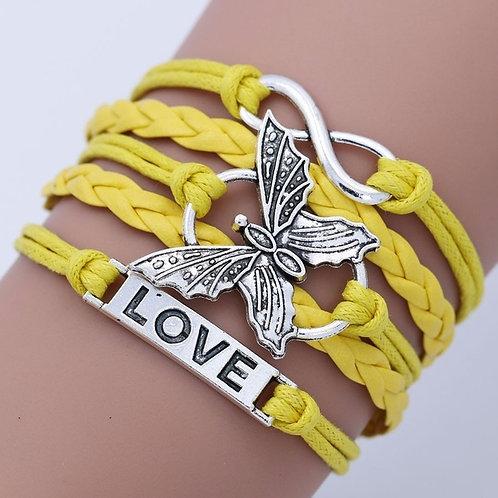 Handmade Infinity Leather Love Butterfly Charm Bracelet