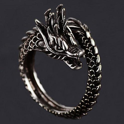 Vintage Rock Punk Dragon Rider Silver Ring