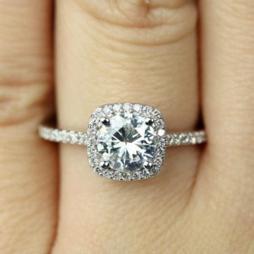 White Gold Plated Cut Zircon Engagement Ring