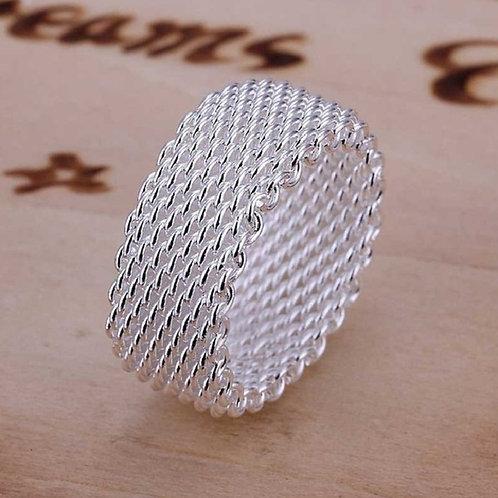 Fine Fashion Woven Mesh Silver Weave Net Silver Rings