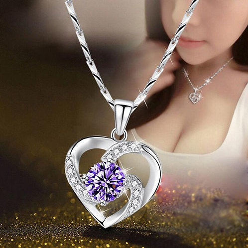 Crystal CZ 925 Silver Heart Pendant Necklace and Chain